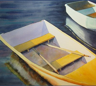 watercolor of rowboats