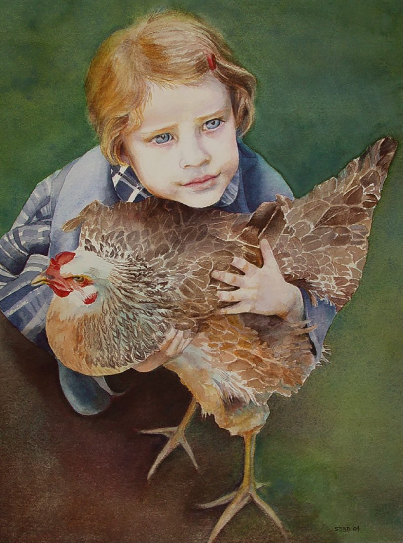 watercolor of child and hen
