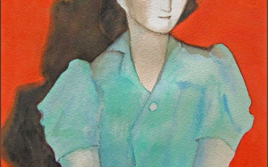 watercolor of young woman