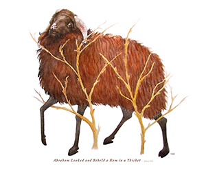 watercolor of a ram in a thicket