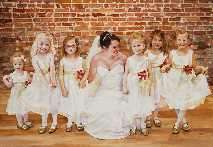 watercolor of bridge and flower girls