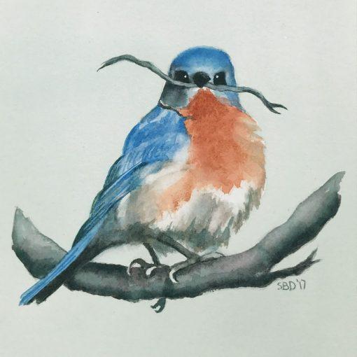 watercolor of bluebird