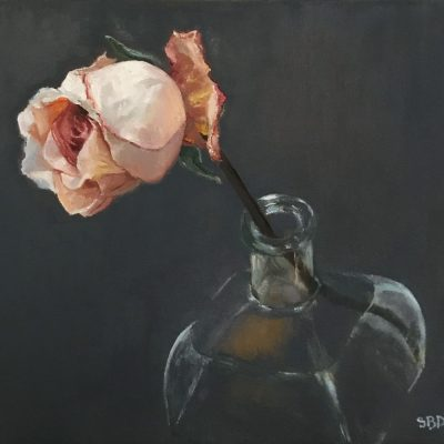 oil painting of rose in a vase