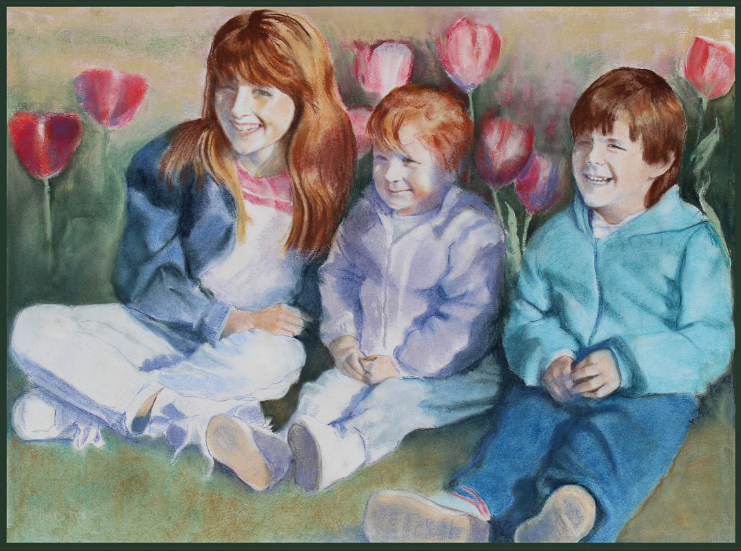 pastel portrait of children